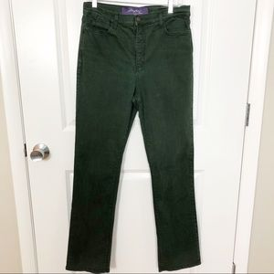 NYDJ | Dark Green Straight Leg Jeans 14